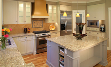 Island countertop in kitchen